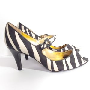 NWOB J Crew zebra print peep toe heels
